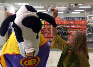 Shaking love on the Chick-fil-A cow.